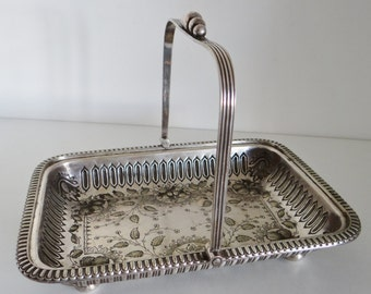 Antique Silver Dish Victorian Silver Plated Rectangular Serving Dish Bread Basket Etched Flower Detail By George Ernest Hawkins, Birmingham