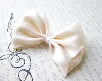 Ivory Cream Satin Bow Hair Clip - Fully Lined Alligator Clip - Clip for Fine Hair - Wedding Hair Accessories - 4""