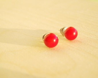 Coral Red Studs, Red Earrings, Coral Red Posts, simple red jewelry, red stud earrings, coral earrings, coral stud earrings