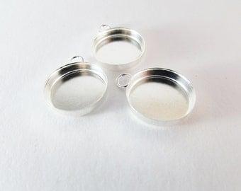 D-00242 - 4 pendant cabochons silver 16mm