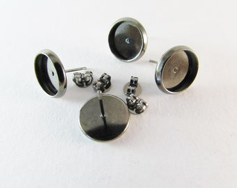 D-00285 - 4 Ear stud bases black tray 10mm