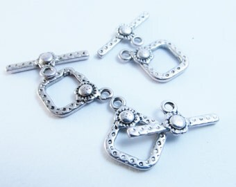 D-02042 - 5 Toggle Clasps 21x15mm Tibetan Style nickel free
