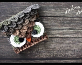 CROCHET PATTERN Crocodile Stitch Owl Hat. Pattern number 056. Instant Download