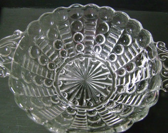 Vintage Glass Dish Starburst Candy Dish Glass w/ Handles
