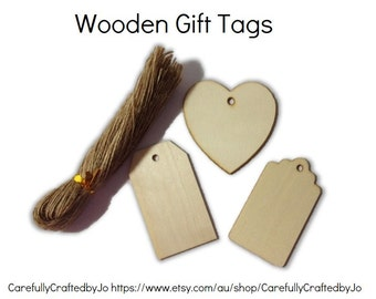 Set of 10,20 Wooden Gift Tags Die Cut &Twines DIY Gift Tags Perfect for wedding,babyshower favours,gift tags,goodie bag tags, price tags