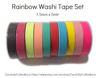 Washi Tape Pack - Set of 10 - Thin - 7.5mm x 5mtr - Dark Colours - Blue, Green, Yellow, Pink & more