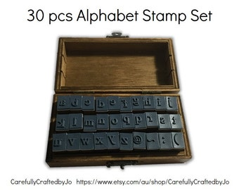 Wooden Rubber Alphabet Stamps Set - 30 pieces Stamp Set - Lowercase