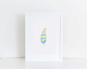 Watercolor Feather Digital Download
