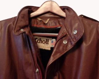 SCHOTT Burgundy Leather Motorcycle Jacket Men's Size 44