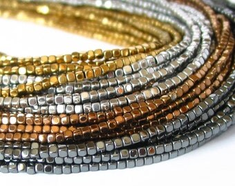 """15"""" 2mm 3mm Hematite Gold / Silver / Bronze / Pyrite / Natural gun metal rounded cornerless cube 3D plated Beads gemstone  non magnetic PICK"""