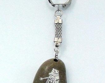 Doctor Who: Dalek Keychain Engraved Beach Stone Sea Rock gift