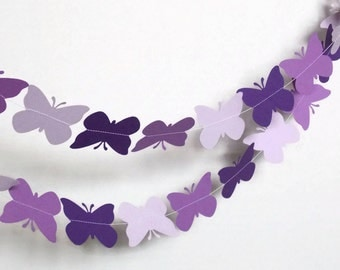 Butterfly Paper Garland,Purple Garland, Baby Shower Garland, Birthday Garland, Nursery Garland, Bridal Shower Garland, Photo prop,10 Ft
