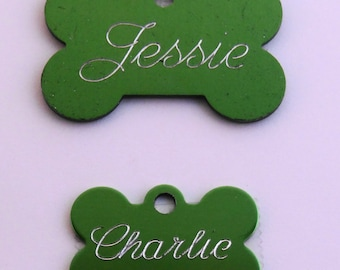 Green Aluminum Engraved Dog or Pet ID Tag