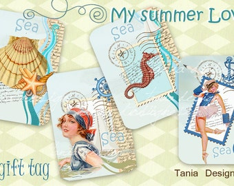 Digital Collage Sheet - My summer Love- gift Tags, scrapbooking, mixed media -Set of 8 Tag - Digital Scrapbooking - Instant Downlod