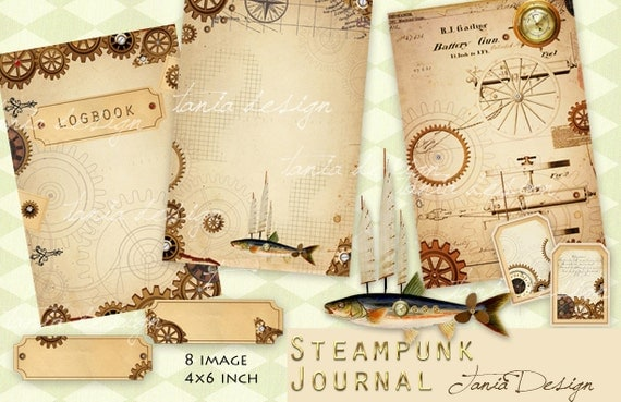 Digital Steampunk Journal Pages