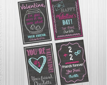 Printable Chalkboard Classroom Valentine's Day Cards - Kids Valentines - Classroom Valentines - PERSONALIZED!!
