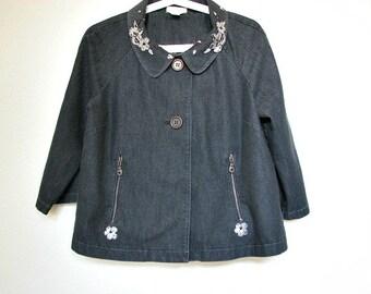 Upcycled clothing for women. Elegant Jacket. Spring women repurposed clothing. Black Blazer size M
