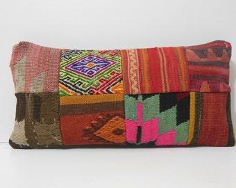 throw pillowcase kilim throw pillow throw pillow turkish floral throw pillow kilim pillow cover sham DECOLIC patchwork kilim pillow 16463