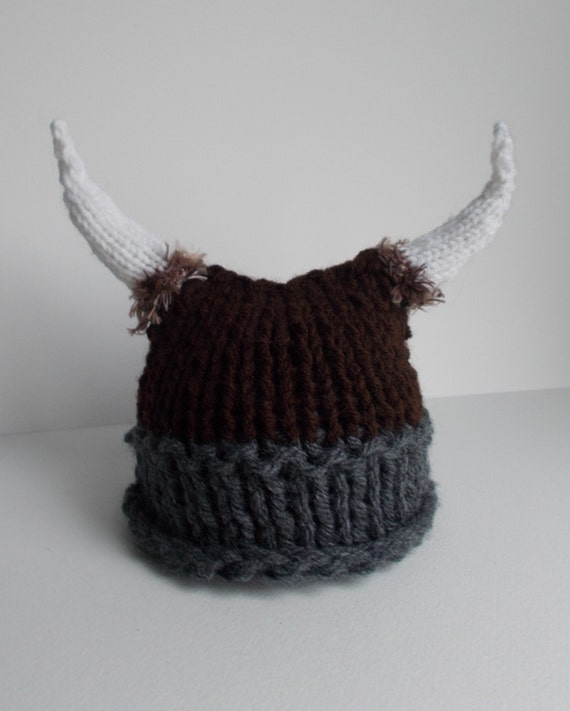 Knitting Patterns For Viking Hat : Baby Viking Hat - Knitted Viking Hat - Knit Viking Hat with horns and fur - C...