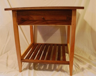 Hickory and Walnut Nightstand with shelf and Drawer