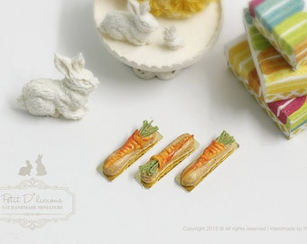 French Eclairs- Carrot Eclairs-THREE Pieces-1/12 Dollhouse Miniature Scale