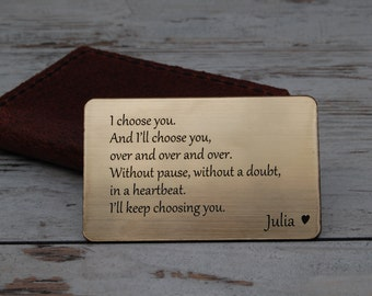 Custom wallet insert card, Engraved Wallet Insert,mum's day,spring, Insert Card, Personalized Wallet Insert Card, Anniversary Gifts for Men