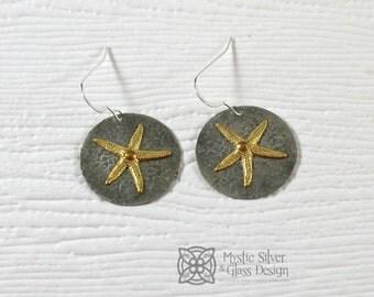 Silver & Gold Starfish Earrings, Dangle, Textured Earrings