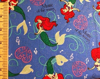 DISNEY Little Mermaid Cotton Fabric by Springs Creative! [Choose Your Cut Size]