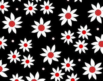 Red & Black Daisy 9756-99 Cotton Fabric by Henry Glass!  [Choose Your Cut Size]