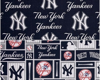 MLB Logo New York Yankees Navy, White, & Grey Cotton Fabric by Fabric Traditions! [Choose Your Cut Size]