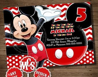 HUGE SELECTION Mickey Mouse Birthday Party Invitation, Mickey Mouse Invitation, Birthday Invitation, My Celebration Shoppe, Boys Invitation