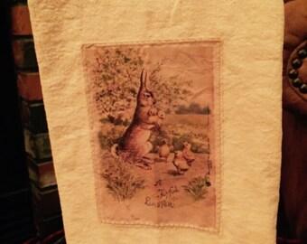 Easter bunny floursack tea towel