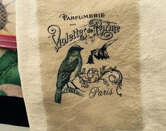 French Blue Bird 100% cotton flour sack tea towel