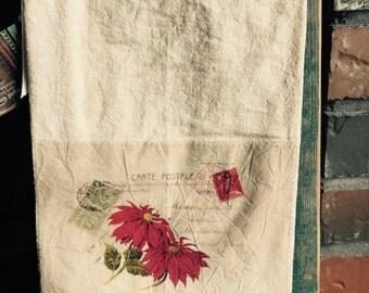 Poinsettia floursack tea towel