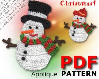 Crochet SNOWMAN | Crochet Pattern | Applique Pattern | Crochet Christmas | Crochet Applique