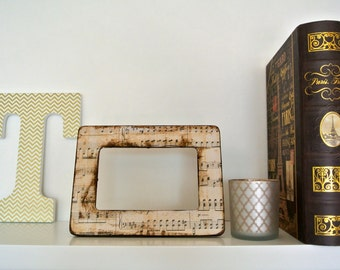 Distressed Music Sheet Wooden Picture Frame