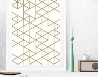 Triangle print, Gold triangle, Geometric print, Geometric art, Triangles art, Gold print, Gold printable art, Gold geometric, Gold wall art