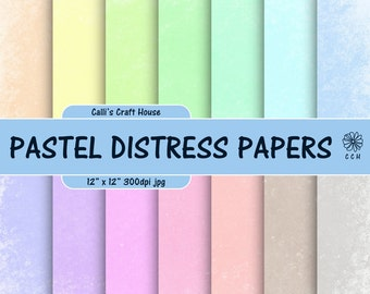 Pastel Shabby Chic Digital Papers - pastel papers with white distress edge - 14 soft pastel backgrounds - Commercial Use - Instant Download