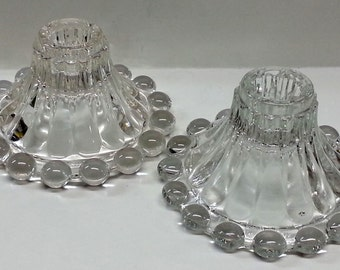 Anchor Hocking Boopie Berwick Glass Candlesticks Candle Holder Bubbles Set of 2