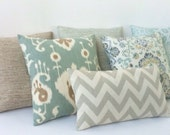 12 Sizes Available: One Seafoam Green Zipper Pillow Cover Ikat Zipper Pillow Cover Mint Green and Cream Zipper pillow cover