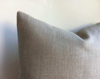 One Belgian Linen Rustic Grey Beige Decorative Zipper Pillow Cover Oatmeal Linen Belgium Linen Cushion Cover: 12 Sizes Available-UODY