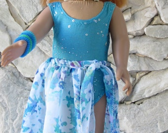 """2-piece beachwear, turquoise/green/teal/blue bathing suit with a floral chiffon beach wrap / swimming suit cover for an 18"""" doll."""