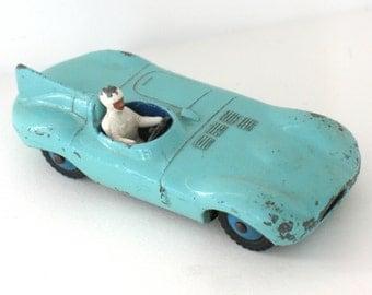 Dinky Car Toy Jaguar Type D 238 with Driver Automobile Aqua Meccano England