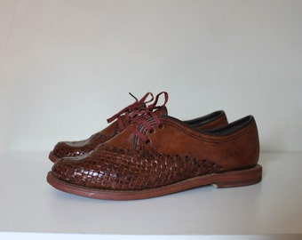 Vintage Huarache Shoes | Oxford Huarache Shoes | Brown Leather Flats |