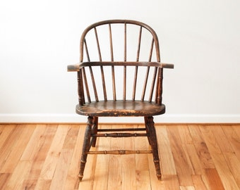 antique Windsor, antique wood chair, spindle back chair, gorgeous antique American Sack-back Windsor Arm Chair, 1800s, antique seating