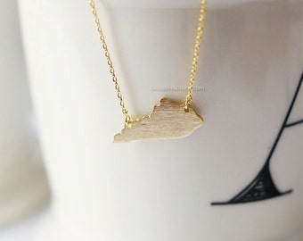 Kentucky State Necklace in Gold, KY state gold necklace