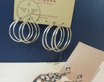 3 Pairs Of Silver Tone Pierced Earrings 2 Pairs Of Hoops