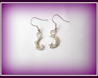 moon earrings - moon with stars