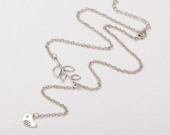 Sparrow Necklace, lariat Necklace,  Bird Necklace, Bird and Branch Necklace, Sparrow Necklace, Pearl Necklace