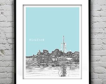 Wickford Rhode Island Skyline Poster Art Print RI